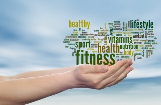 Concept or conceptual abstract fitness and health word cloud man